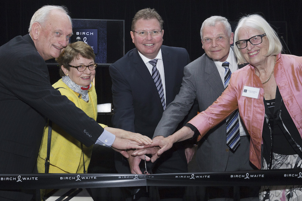 Assistant Minister for Industry Innovation and Science, Craig Laundy (centre) with Birch & Waite owners Willi Schultheiss (second from right) and Peter Flick (far left).