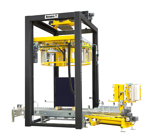 """Fully automatic, the machines employ the """"Octopus ring method"""", whereby the wrapping film reel is suspended from a ring and it revolves around the pallet."""
