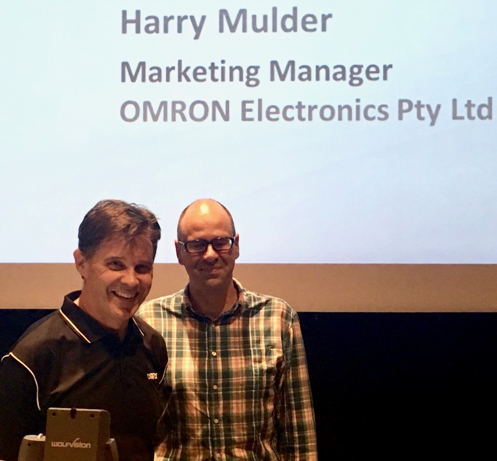 Omron Marketing Manager Harry Mulder with Dr Rob Jack (Faculty of Business and Economics) at Macquarie University in Sydney.