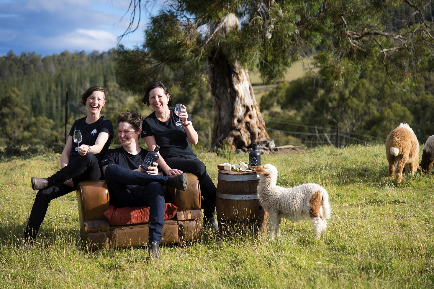 Hartshorn Distillery's Ryan Hartshorn (centre) with his sister Nicole Gilliver (left) and his mother Diane Rae (right).
